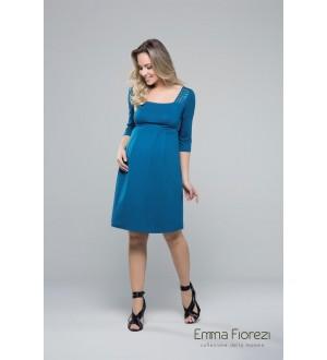 Vestido decote quadrado | Cor: Azul petróleo