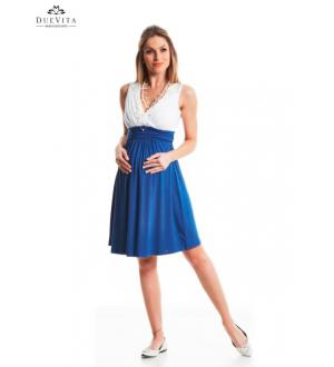 Vestido curto decote Drapeado | Cor: Azul e branco