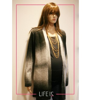 Maxi casaco  | Cor: Preto degradê