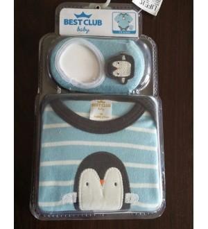 Body e sapatilha pinguim | Cor: Azul