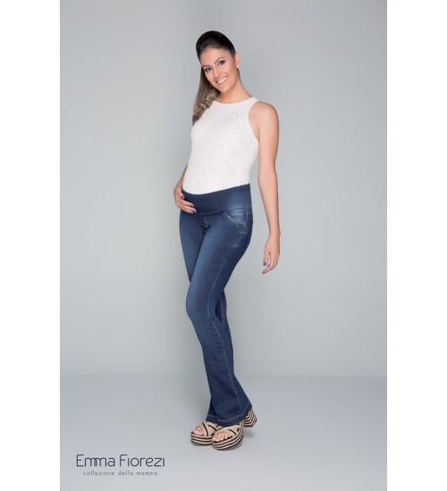 Calça flare com pespontos finos | Cor: Jeans Azul