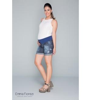Shorts barra virada | Cor: Jeans Azul