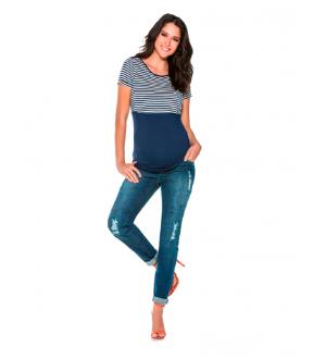 Camiseta amamentação   Cor: Azul marinho
