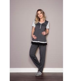 Pijama bata e calça   Cor: cinza escuro