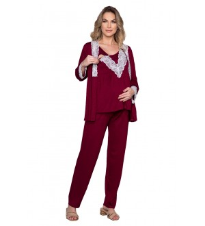 Pijama 3 peças com casaqueto | Cor: bordô
